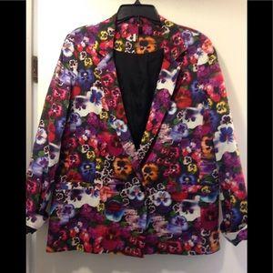 Topshop floral blazer with skulls size 10